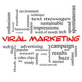 Viral Marketing Word Cloud Concept in red caps — Stock Photo