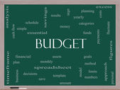 Budget Word Cloud Concept on a Blackboard — Stock Photo