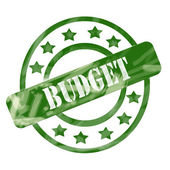 Green Weathered Budget Stamp Circles and Stars — Stock Photo