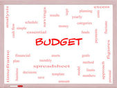 Budget Word Cloud Concept on a Whiteboard — Stock Photo