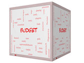 Budget Word Cloud Concept on a 3D cube Whiteboard — Stock Photo