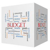 Budget 3D cube Word Cloud Concept — Stock Photo