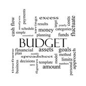 Budget Word Cloud Concept in black and white — Stock Photo