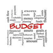 Budget Word Cloud Concept in red caps — Stock Photo