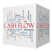 Cash Flow 3D cube Word Cloud Concept — Stock Photo
