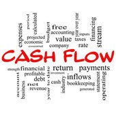 Cash Flow Word Cloud Concept in red caps — Stock Photo
