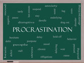 Procrastination Word Cloud Concept on a Blackboard — Stock Photo