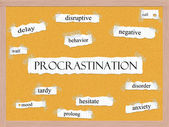 Procrastination Corkboard Word Concept — Stock Photo