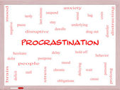 Procrastination Word Cloud Concept on a Whiteboard — Stock Photo