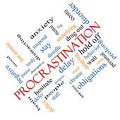 Procrastination Word Cloud Concept Angled — Stock Photo