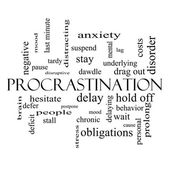 Procrastination Word Cloud Concept in black and white — Zdjęcie stockowe