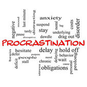 Procrastination Word Cloud Concept in red caps — Stock Photo