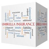 Umbrella Insurance 3D cube Word Cloud Concept — Stock Photo