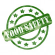 Green Weathered Food Safety Stamp Circles and Stars — Stock Photo