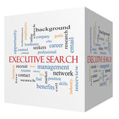 Executive Search 3D cube Word Cloud Concept — Stock Photo