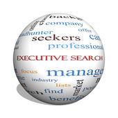 Executive Search 3D sphere Word Cloud Concept — Stock Photo