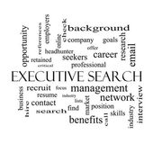 Executive Search Word Cloud Concept in black and white — Stock Photo