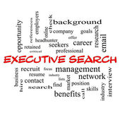 Executive Search Word Cloud Concept in red caps — Stock Photo