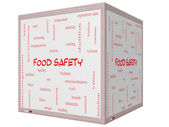 Food Safety Word Cloud Concept on a 3D cube Whiteboard — Stock Photo