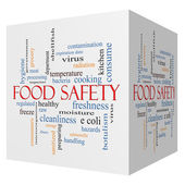 Food Safety 3D cube Word Cloud Concept — Stock Photo