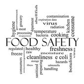 Food Safety Word Cloud Concept in black and white — Stock Photo