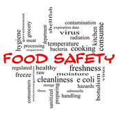 Food Safety Word Cloud Concept in red caps — Stock Photo