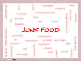 Junk Food Word Cloud Concept on a Whiteboard — Stock Photo