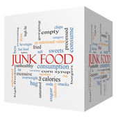 Junk Food 3D cube Word Cloud Concept — Stock Photo