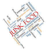 Junk Food Word Cloud Concept Angled — Stock Photo