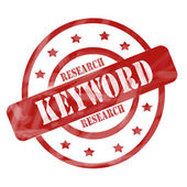 Red Weathered Keyword Research Stamp Circles and Stars — Stock Photo