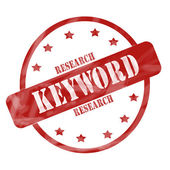 Red Weathered Keyword Research Stamp Circle and Stars — Stock Photo