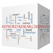 Keyword Research 3D cube Word Cloud Concept — Stock Photo