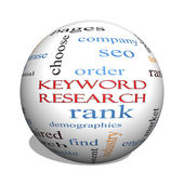 Keyword Research 3D sphere Word Cloud Concept — Stock Photo