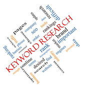 Keyword Research Word Cloud Concept Angled — Stock Photo