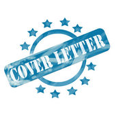 Blue Weathered Cover Letter Stamp Circle and Stars design — Stock Photo