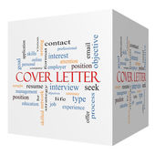 Cover Letter 3D cube Word Cloud Concept — Stock Photo