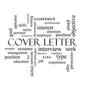Cover Letter Word Cloud Concept in black and white — Stock Photo