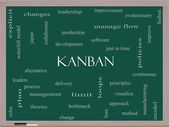 Kanban Word Cloud Concept on a Blackboard — Stock Photo