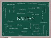 Concept de nuage de mot kanban sur un tableau noir — Photo