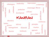 Kanban Word Cloud Concept on a Whiteboard — Stock Photo