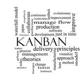 Kanban Word Cloud Concept in black and white — Stock Photo