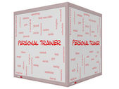 Personal Trainer Word Cloud Concept on a 3D cube Whiteboard — Foto Stock