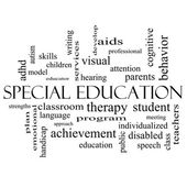 Special Education Word Cloud Concept in black and white — Stok fotoğraf