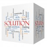 Solution 3D cube Word Cloud Concept — Stock Photo