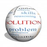 Solution 3D sphere Word Cloud Concept — Stock Photo
