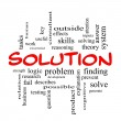 Solution Word Cloud Concept in red caps — Stock Photo