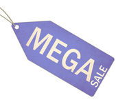 Mega Sale Blue Tag and String — Stock Photo