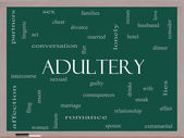 Adultery Word Cloud Concept on a Blackboard — Stock Photo