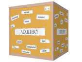 Adultery 3D cube Corkboard Word Concept — Stock Photo