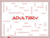 Adultery Word Cloud Concept on a Whiteboard — Stock Photo